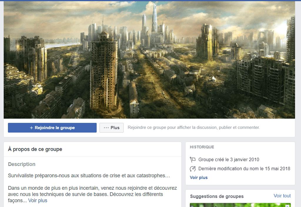 Groupe facebook de survivalistes en France