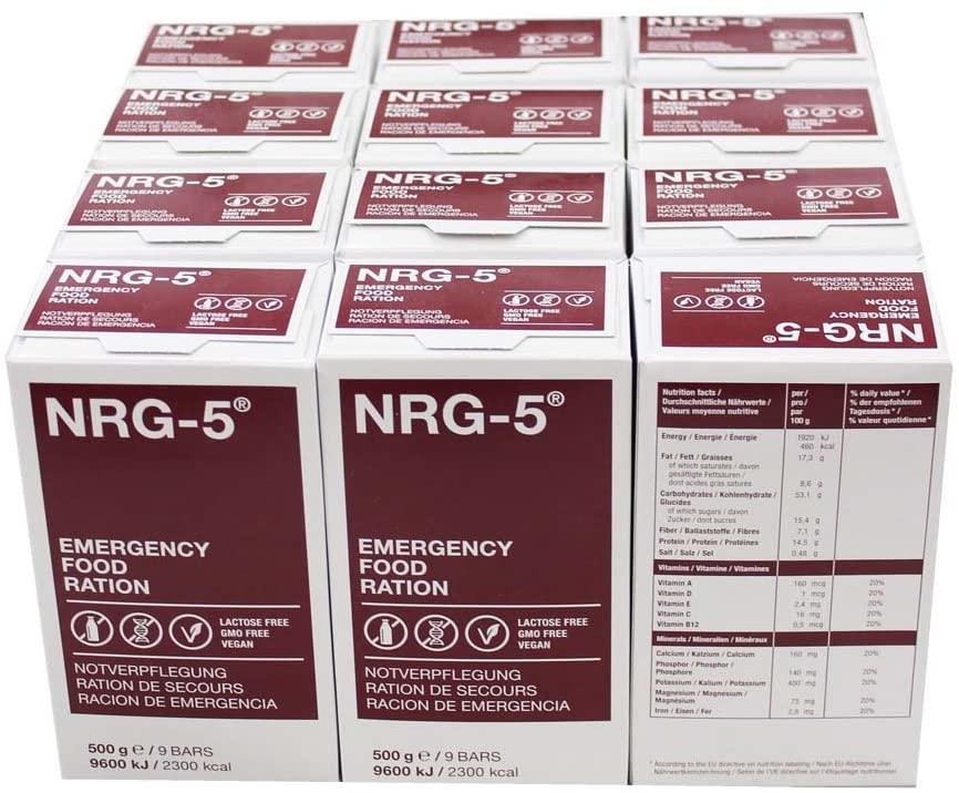 NRG-5 - Lot de 12 paquets de rations de secours de 9 barres chacun - 500 g
