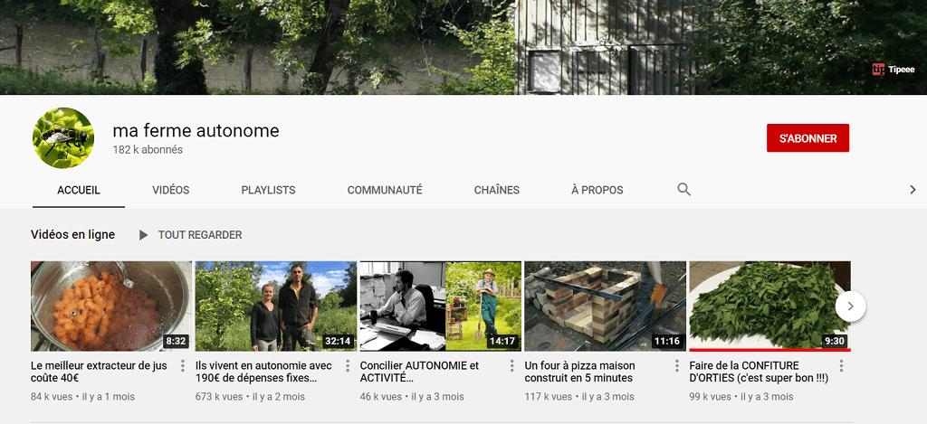 Chaîne Youtube ma ferme autonome