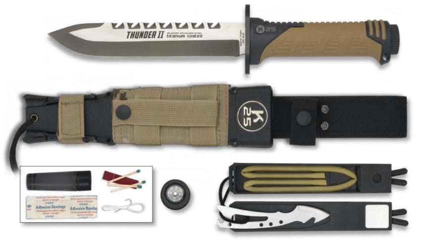 Couteau de survie militaire avec boussole
