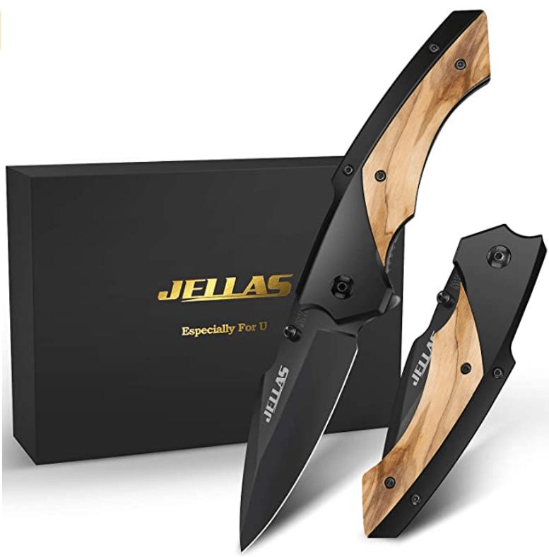 Couteau de survie pliant en bois jellas